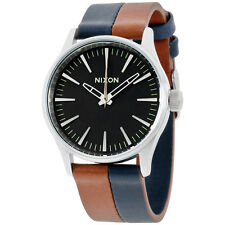 Nixon Sentry Black Dial Leather Strap Men's Watch A377195700