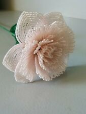 Handmade French beaded Flowers Large Peony flower rosealine color
