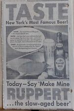 1948 newspaper ad for Ruppert Beer - New York's Most Famous, table tennis