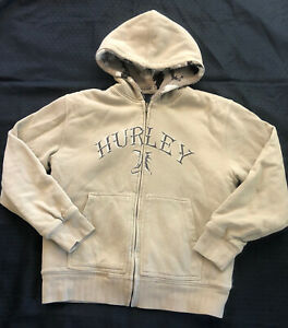 Youth HURLEY L 14/16 Sherpa Lined Tan Camo Hoodie Sweatshirt Zip Up Jacket
