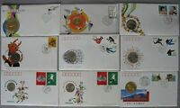 s1120) China Coin Cover Numisbrief 14 verschiedene NB 1984 - 1995