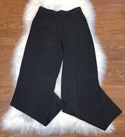St John Caviar Size 4 Black Sweater Knit High Rise Dress Pants Flat Front