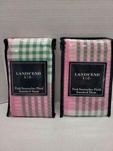 Lands End Kids Berry Pink Seersucker Plaid Standard Sham Set of 2 100% Cotton