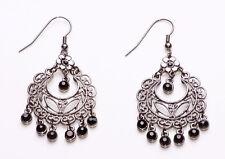 Heirloom Style Pair Of Gunmetal And Black Faceted Bead Chandelier Earrings(Zx28)