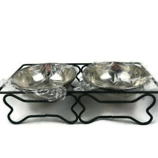 Pet Water Food Feeder Stainless Cat Dog Puppy Double Dish Bowl Stand Bone