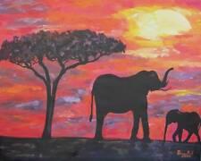 African Elephants Original Fine Art PAINTING DAN BYL Animal Wildlife Canvas XXL