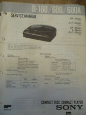 Sony D-160  /  D-600  /  D-600A Compact Disc Player Service Manual