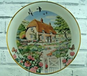 Rose Cottage Plate Franklin Mint Heirloom Collection Country Thatch Home Decor