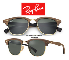 Ray-Ban Sunglasses RB3016M 118158 Polarized Clubmaster Wood Brown/Green