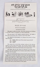 Original Game Instructions for CLUE Game Vintage Parker Brothers 1949 1950