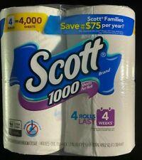 4 Rolls Scott Regular White Bath Toilet Paper Tissue 4000 Sheets - Lasts 4 weeks