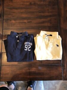 Lot Of 2 Abercrombie And Fitch Polo Shirts Boys Small Muscle Navy/Light Yellow
