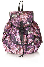 New Topshop Womens Peonies Flowers Floral Backpack Purple Pink  Tote