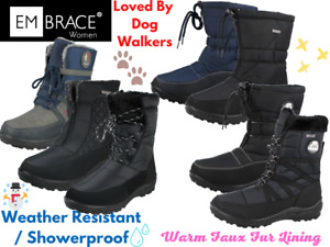 Ladies Quilted Lace Up Zip Thermal Water Resistant Snow Rain Wellington Boots