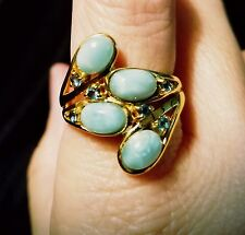 Larimar Cabochon Ring Barehipani Topaz Stones Sterling Silver with Gold Overlay