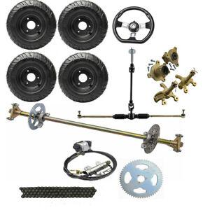 "29"" Go kart Rear Axle Kit Front Steering Hub Tie Rod 4.10-6 Wheels Disc Brake"