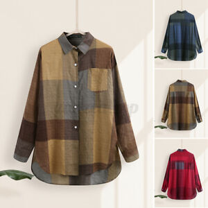 ZANZEA Women's Blouse Collared Plaid Check Long Sleeve Solid Shirt Holiday Plus