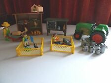 Playmobil Hen House 6207 Rabbit Hutch 3721 Girl/Guinea Pigs 4794 Tractor -Farmer