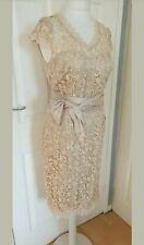 Kaleidoscope NWT UK size 12 champagne gold beige lace overlay sash shift dress