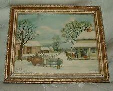 "Vintage Currier & Ives HOME FOR CHRISTMAS 4""x5"" Chromolithograph Gilt Frame"