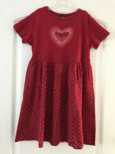 Gap Kids Girls M 8y Red Polka Dots Heart Cotton Knit Dress GUC