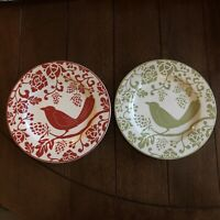 "Set of Two Pier 1 Salad Dessert Side Plates Red Green Birds 8 3/8"" Christmas"