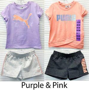 Puma Girls' 4-piece Set - 2 Short Sleeve Top & 2 Shorts - Size XS (5/6) - NWT