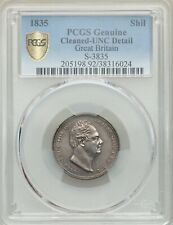 """G.B. WILLIAM IIII  1835 1 SHILLING COIN, CERTIFIED PCGS """"UNCIRCULATED DETAILS"""""""