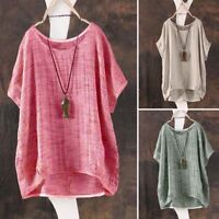 M-3XL Women Summer Plain Scoop Neck Short Sleeve Retro T-shirt Blouse Tee Tops