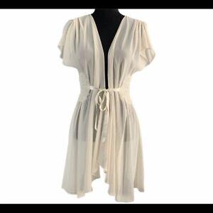Oscar de la Renta Ivory Sheer Robe W/Embroidery Size M