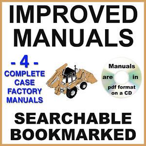 Case 590 Super L 590SL SERVICE OPERATORS PARTS ENGINE Repair Manual 4 Manuals CD
