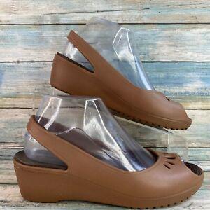 CROCS Womens Brown Rubber Slingback Pumps Wedge Heel Peep Toe Slip On Size 7M