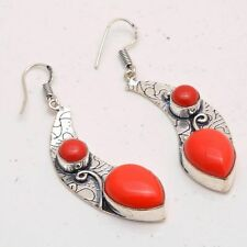 Handmade Earrings Me-2366 Coral Ethnic Jewelry