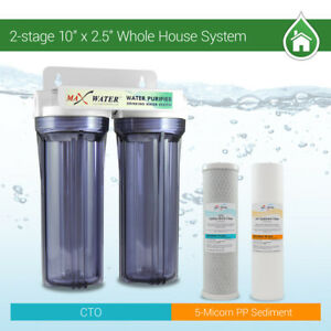 """2 Stage10"""" Whole House Water Filter Sediment Carbon with Purple Clear"""