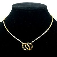 """Gross Germany Signed GoldTone 2 Ring Pendant on Chain 13"""" Choker Necklace"""