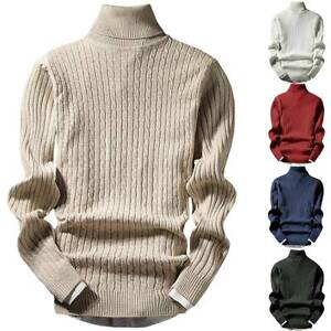 Mens Plain Long Sleeve Turtleneck Knitwear Sweater Casual Pullover Jumpers Tops