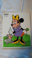 Vintage Walt Disney Productions Minnie Mouse 190-16 Wood Puzzle Playskool