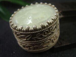 Antique Chinese Nephrite Celadon Hetian OLD Jade-Jewelry box Statue/Pendant