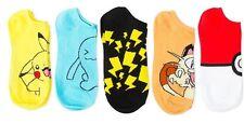 Boy's Pokemon 5 Pair No Show Socks Pikachu Meowth Wobbuffet Poke Ball 6-8.5