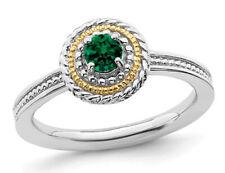 1/4 карат (Ctw) создан в лаборатории изумруд кольцо из чистого серебра с 14K золотым акцентом