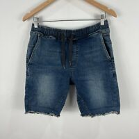 Industrie Mens Shorts 30 Blue Denim Elastic Waist Drawstring