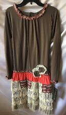 Isobella And Chloe Girls Taupe Ivory and Coral Ruffle Tiered Dress Size 14-New