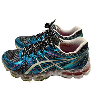 Asics Gel Kayano 19 Women's Size 7 Athletic Running Shoes White, Gray, & Green