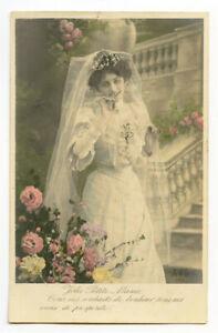 c 1910 Glamour Young Beautiful BLUSHING BRIDE Fashion Fantasy photo postcard