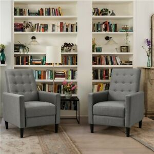 Fabric Reclining Chair Modern Living Room Armchair Sofa Couch Lounge Chair Grey