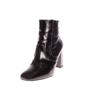 RRP€240 CLAUDIE PIERLOT Leather Ankle Boots Size 36 UK 3 US 6 Patent Flare Heel