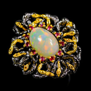 5ct+ Super Top AAA Opal Ring Silver 925 Sterling  Size 8 /R152178