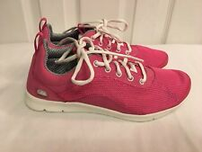 Clarks Ladies Girls INPLAY FLEX Pink Leather Trainers Shoes Size UK 4 D New