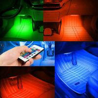 4x RGB LED Car Interior Under Dash Floor Neon Atmosphere Light Strip Accessories
