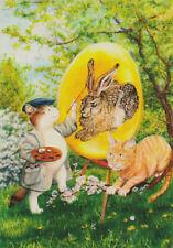 Ansichtskarte: Katzen bemalen ein Osterei mit dem Hasen von Dürer - Ostern